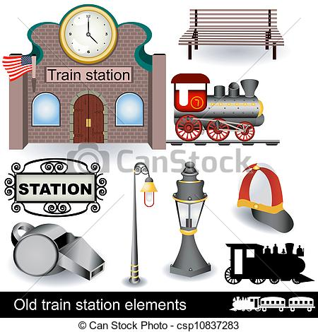 Vector of old train station elements.