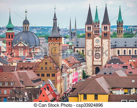 Stock Photographs of Historic city of Wurzburg, Franconia, Bavaria.