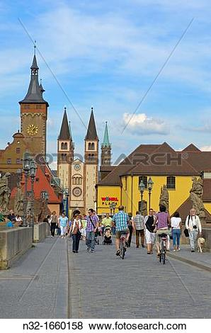 Pictures of Old Main Bridge, Town Hall and Cathedral, W?rzburg.