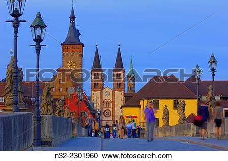 Stock Photography of Old Main Bridge, Town Hall and Cathedral.