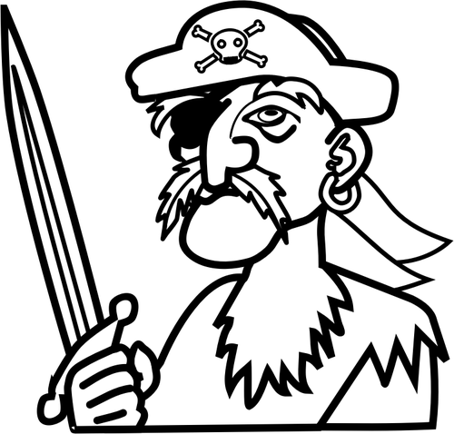Vector clip art of old man pirate outline.
