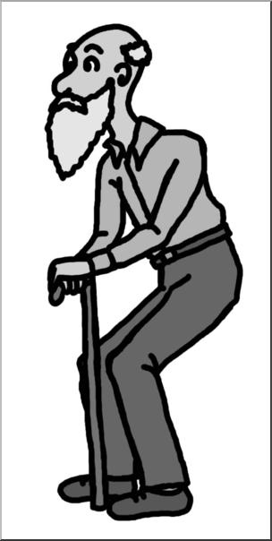 Clip Art: Old Man Grayscale I abcteach.com.