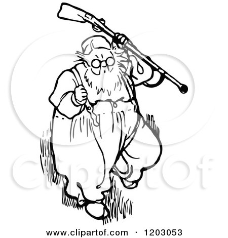 Clipart of a Retro Vintage Black and White Old Man 4.