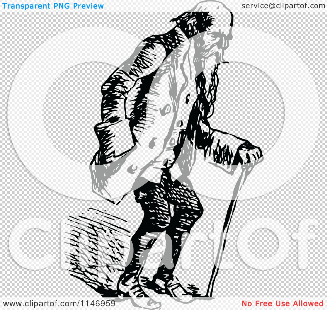 Clipart of a Retro Vintage Black and White Old Man Using a Cane.