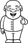 Clip Art of Black and white old man giving a thumbs down k16593817.