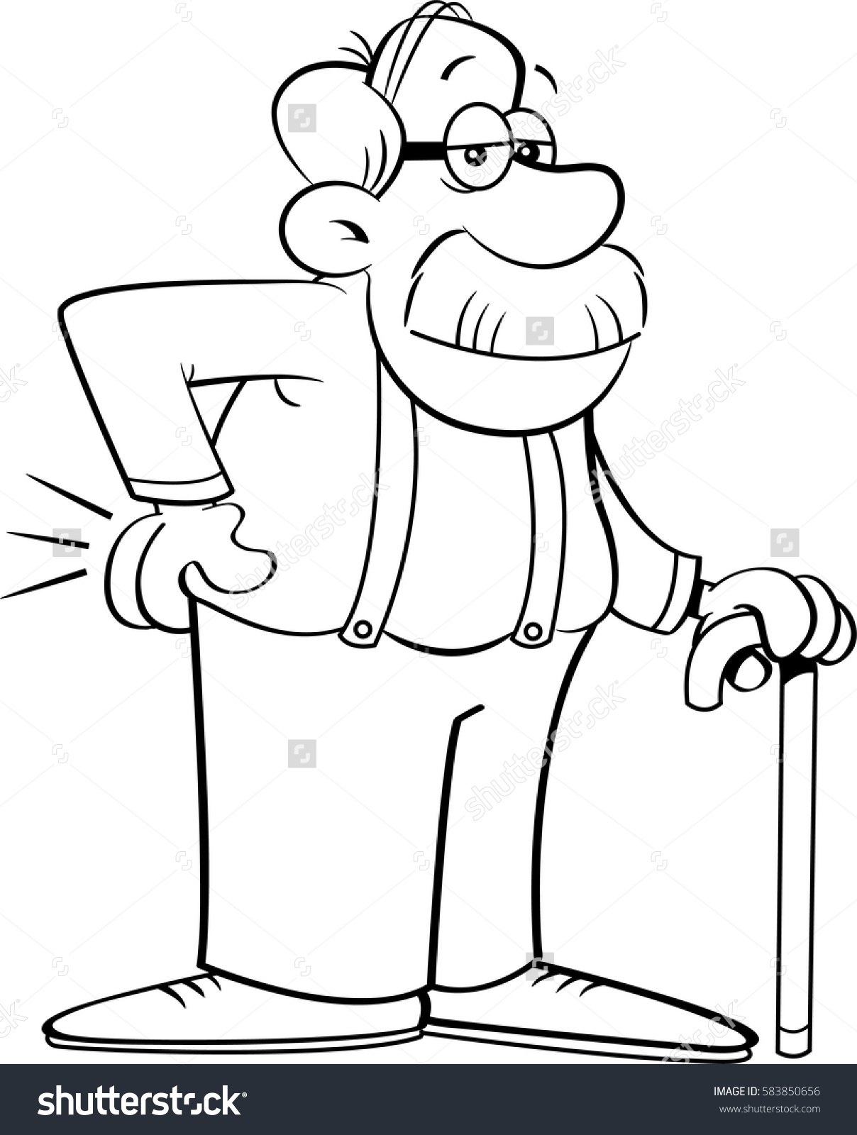 Black White Illustration Old Man Leaning Stock Vector 583850656.
