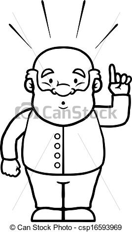 Clip Art Vector of Black and white old man having an idea.
