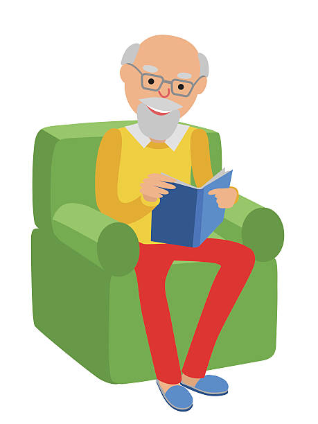 Old Man Reading Clipart.