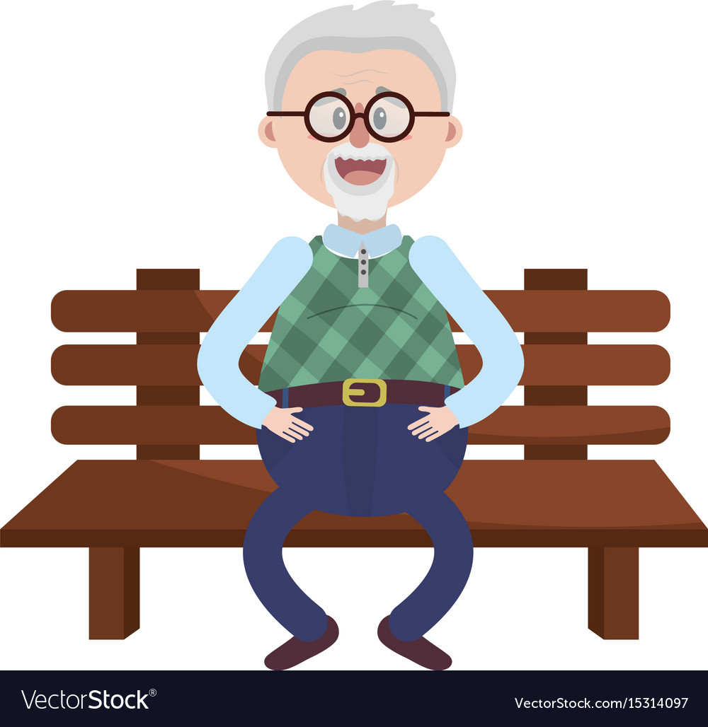 Old man in the chair with hairstyle.