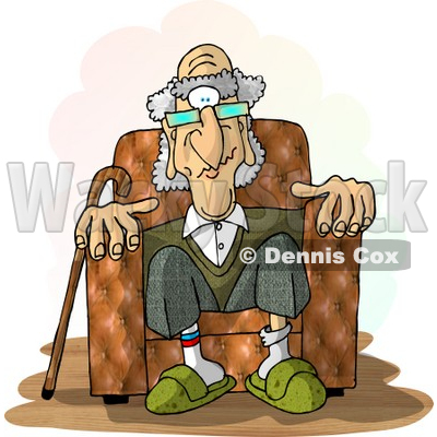 Man Sitting In a Recliner Chair Clipart Picture © Dennis Cox #6229.