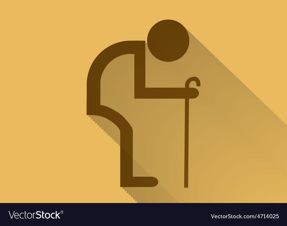 Old man symbol flat long shadow.