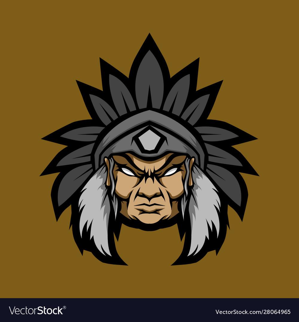 Old man indian head mascot logo.