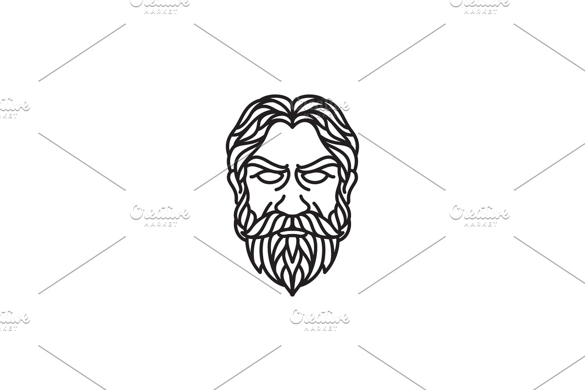 Greek Old Man Head line art logo.