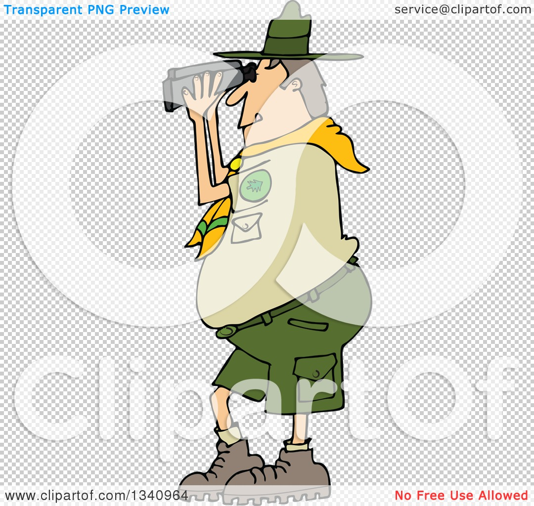 Clipart of a Cartoon Caucasian Scout Man Facing Left and Looking.