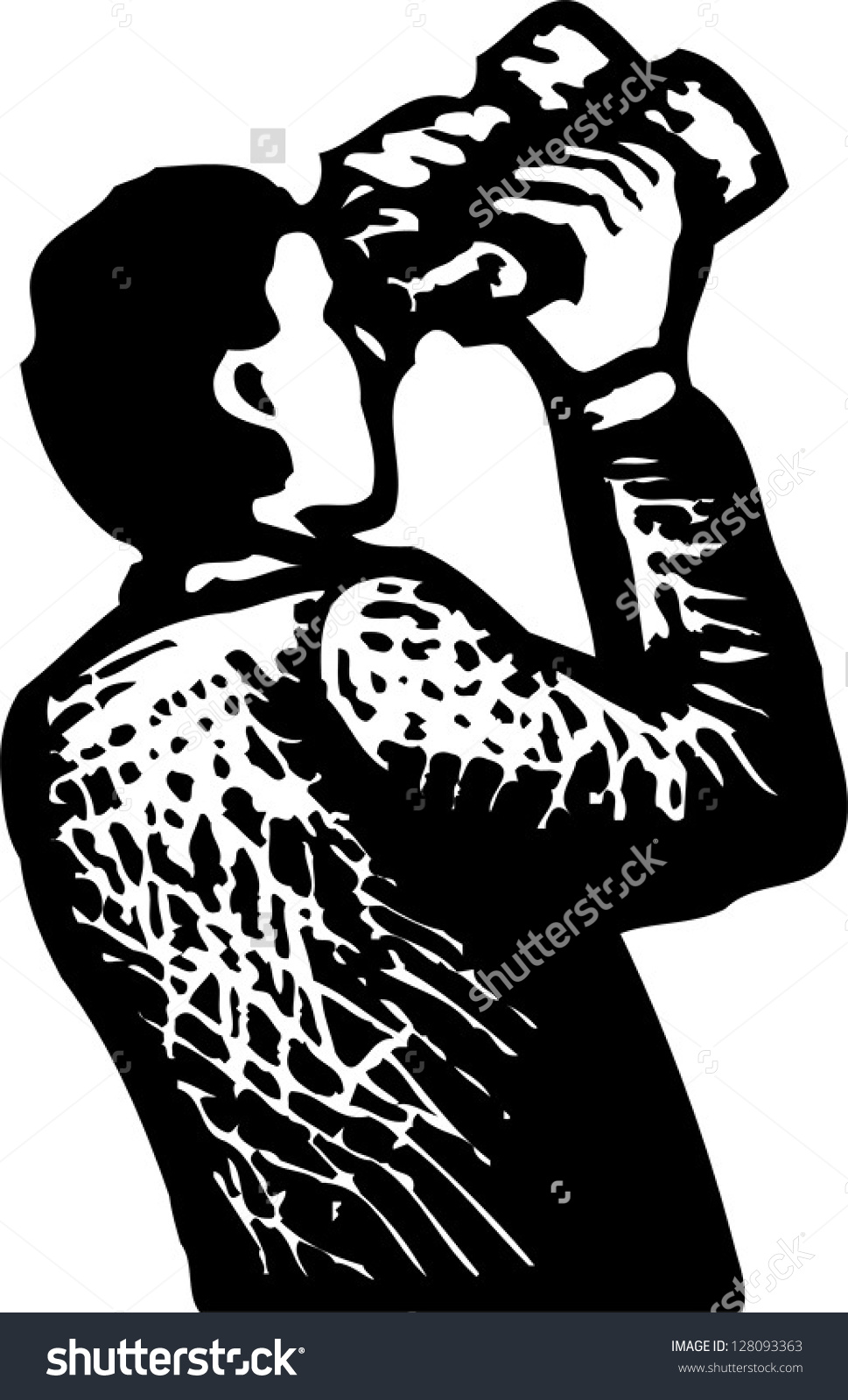 Black White Vector Illustration Man Looking Stock Vector 128093363.