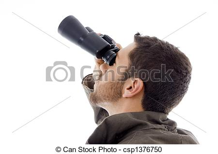 Stock Photography of side view of hispanic man looking through.