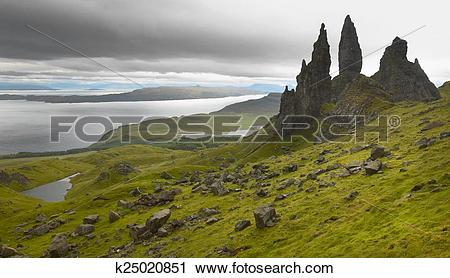 Stock Photography of Scottish basaltic landscape in Skye isle. Old.