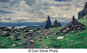 Stock Photography of Footpath to Old Man of Storr in Isle of Skye.