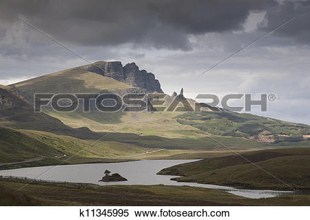 Stock Image of The Storr including Old Man of Storr, Isle of Skye.