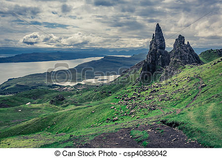 Stock Photo of Dramatic clouds over Old Man of Storr in Isle of.