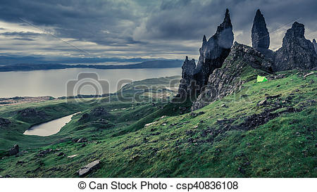 Stock Photography of Campsite in Old Man of Storr in Scotland.