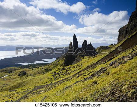 Stock Image of Scotland, Highland, Isle of Skye. The Old Man of.