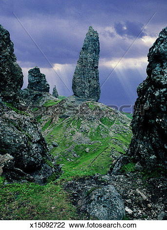 Stock Photo of Scotland, Isle of Skye, the Old Man of Storr.