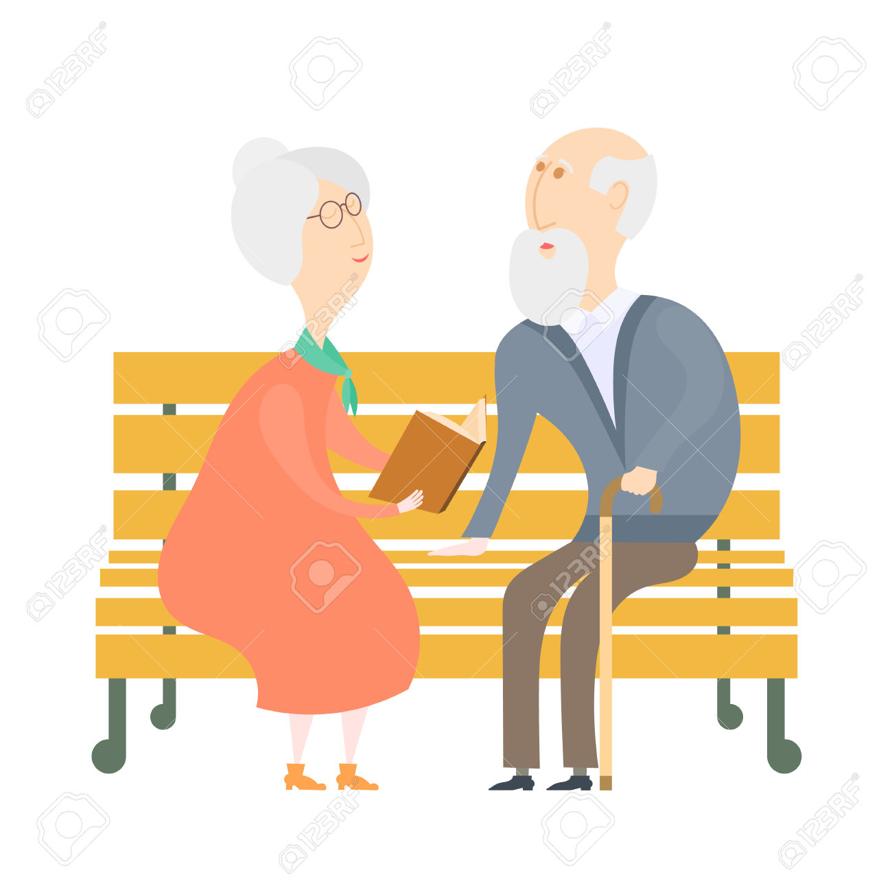The Old Man And The Old Woman On A Bench. The Old Lady Old Man.