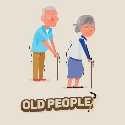 Old People Man and Women Walking With Character premium clipart.