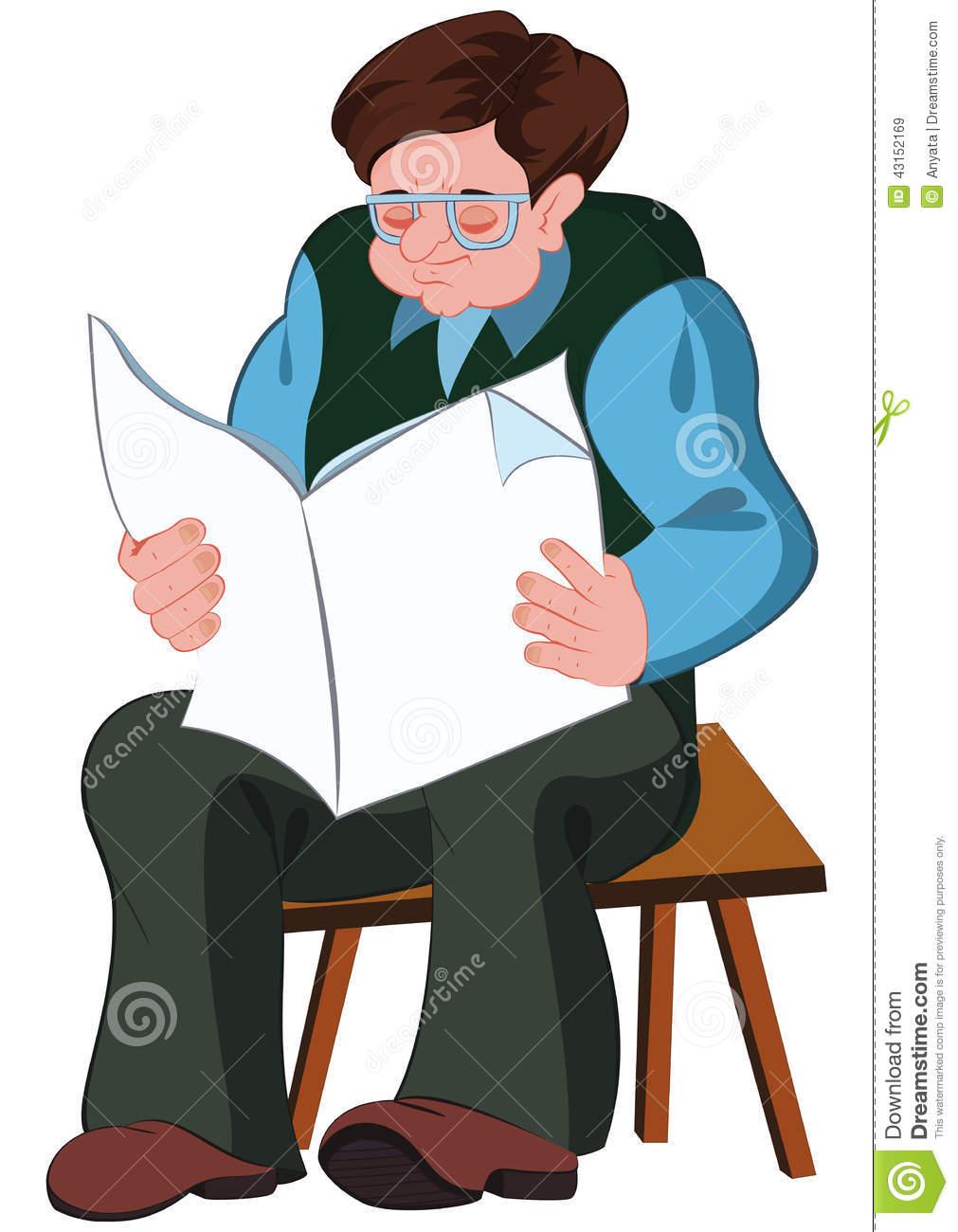 Cartoon Old Man Reading Newspaper Stock Vector.