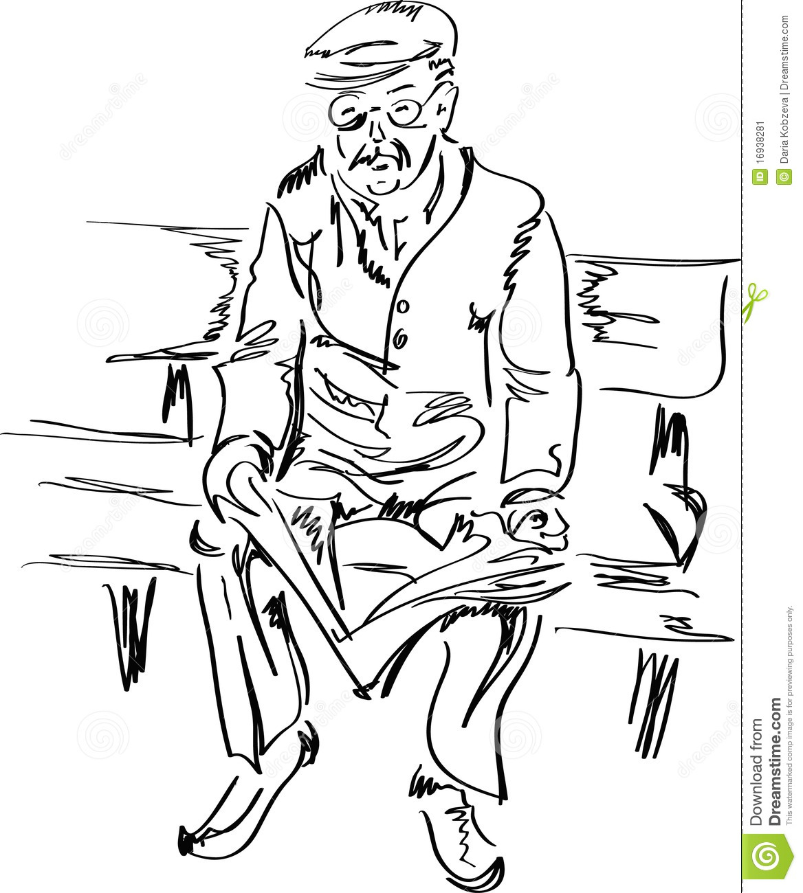 Old Man Reading A Newspaper Stock Image.