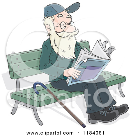 Clipart of a Cartoon White Man Reading Articles in the Newspaper.