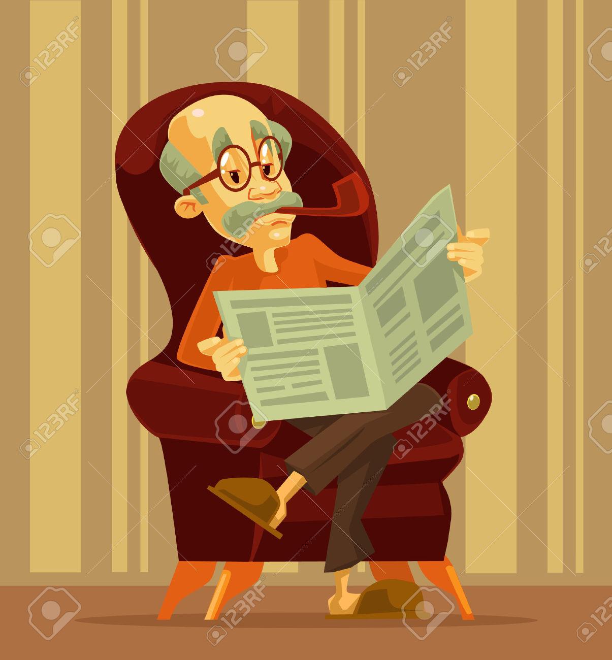 Old Man Reading Newspaper. Grandfather Smoking. Vector Flat.