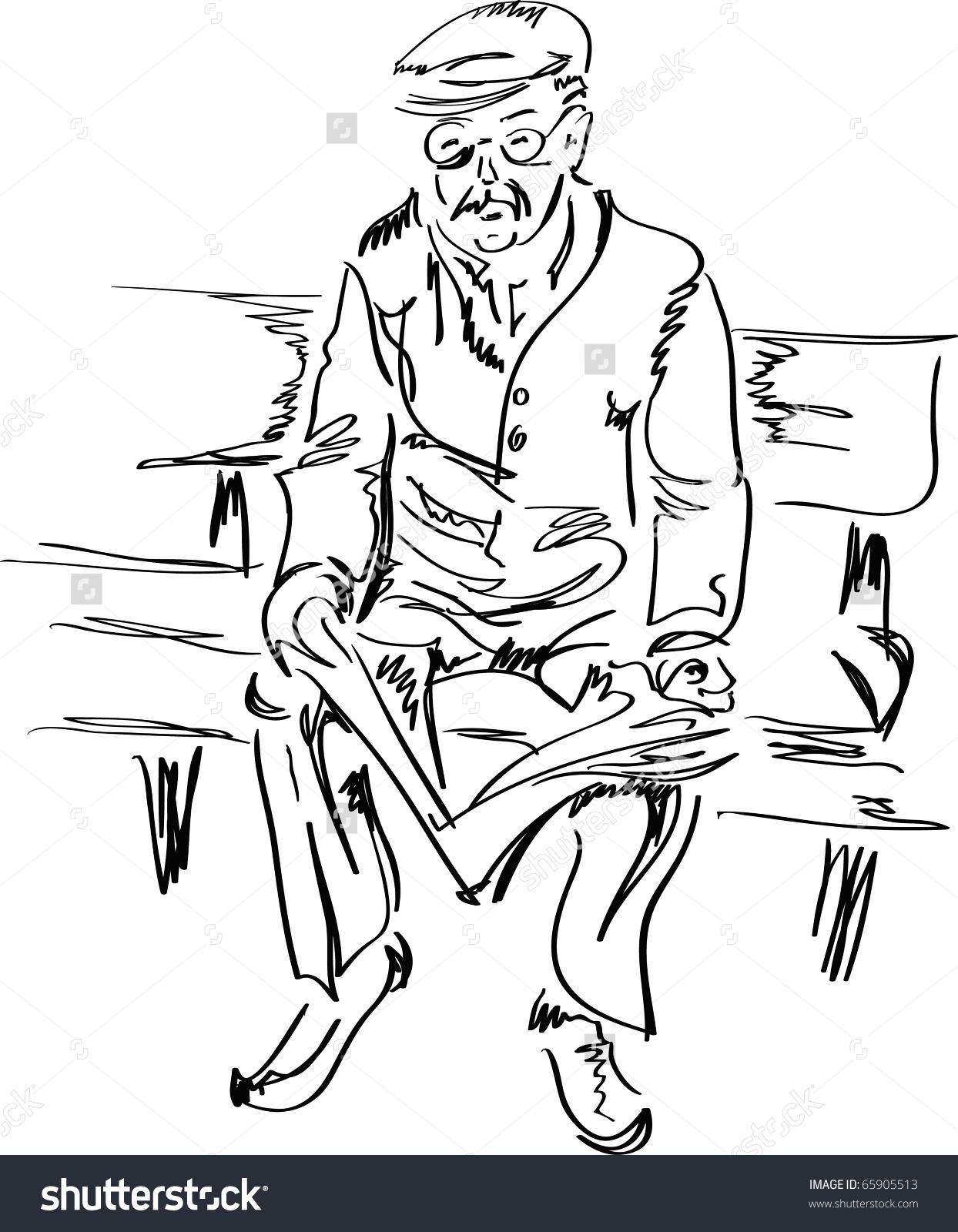Old Man Reading Newspaper Sketch Vector Stock Vector 65905513.