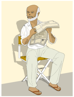 Old Man Sitting and Reading Newspaper.
