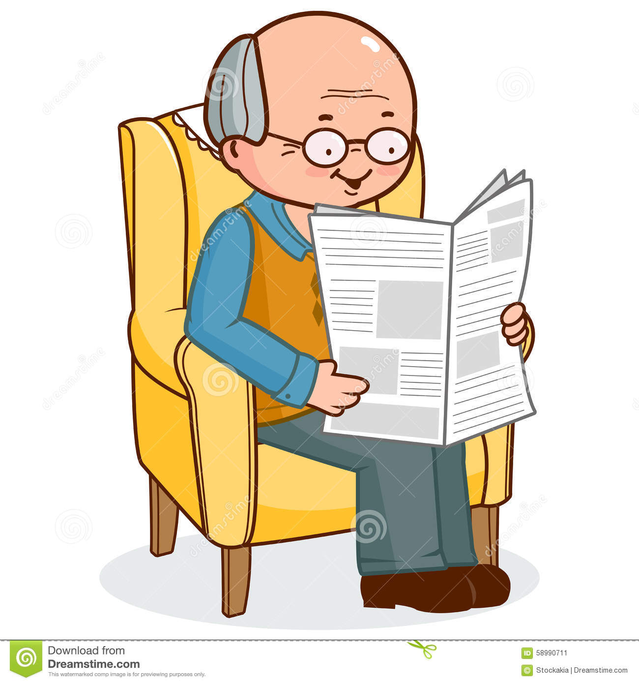 Old Man Sitting In Armchair Reading The News Stock Vector.