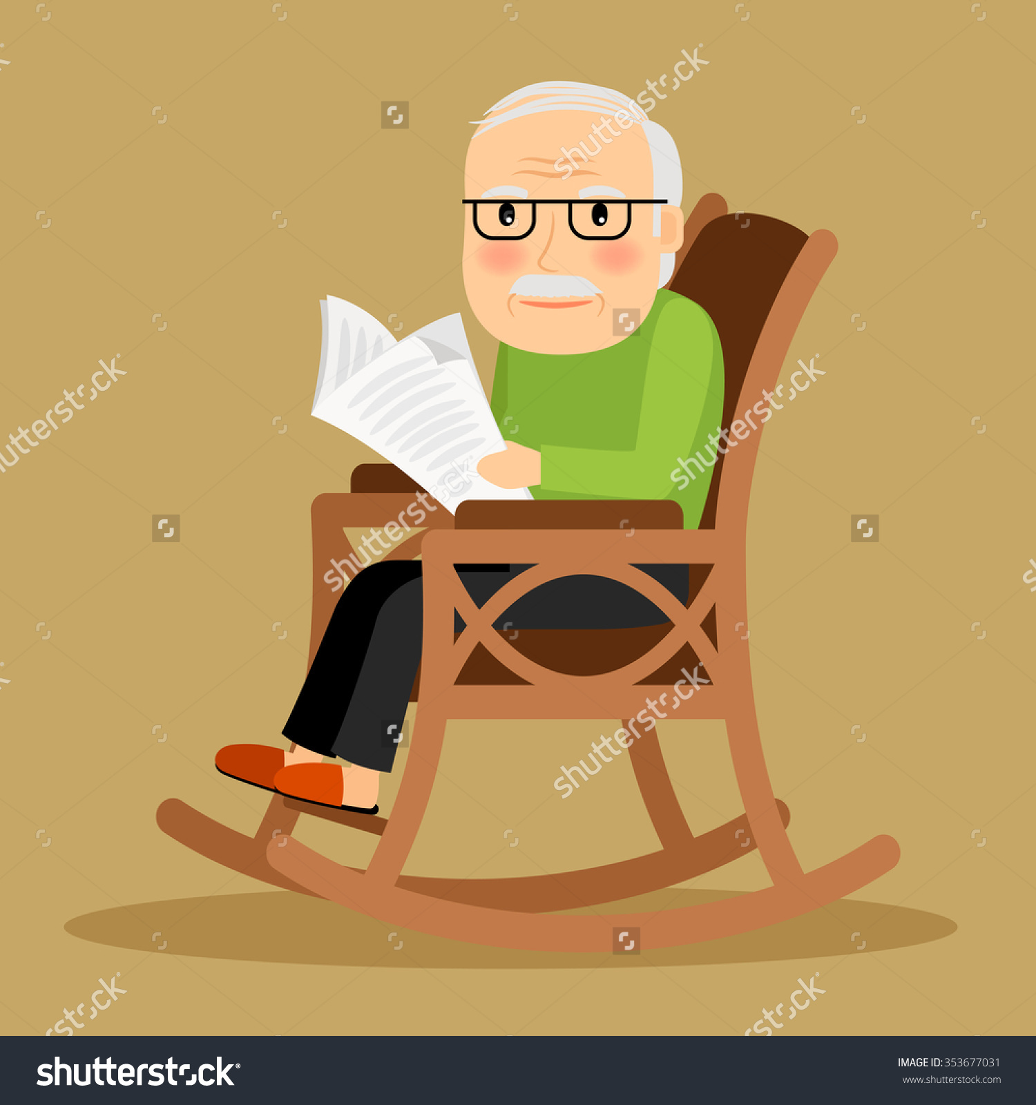 Old Man Sitting Rocking Chair Reading Stock Vector 353677031.