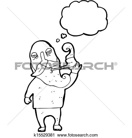 Clipart of old man smoking pipe cartoon k15529381.