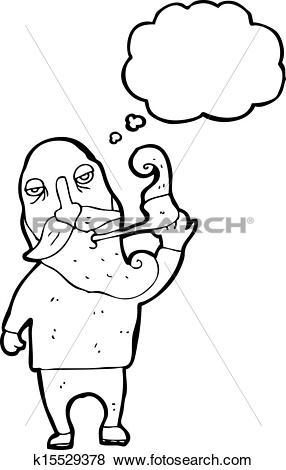 Clip Art of old man smoking pipe cartoon k15529378.