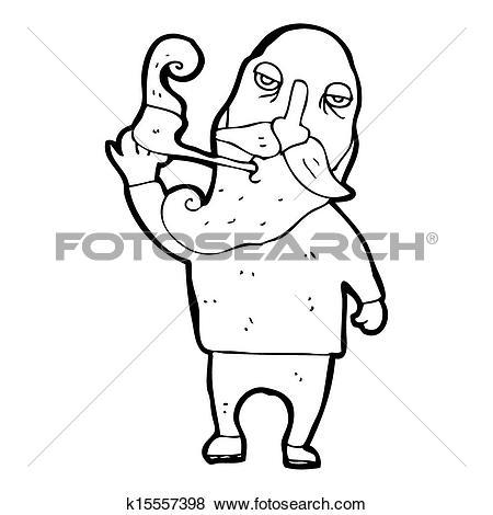 Stock Illustration of cartoon old man smoking pipe k15557398.