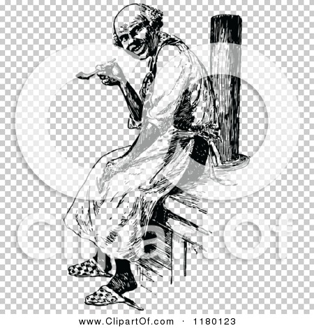 Clipart of a Retro Vintage Black and White Old Man Smoking a Pipe.