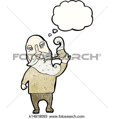 Clipart of old man smoking pipe cartoon k14818093.
