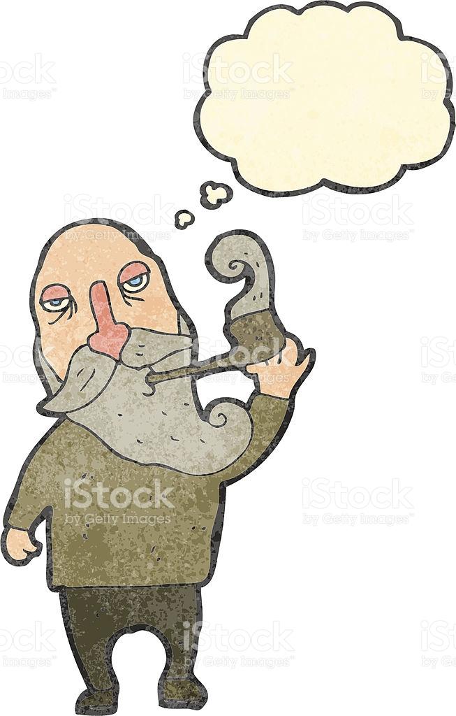 Retro Cartoon Old Man Smoking Pipe stock vector art 469172717.