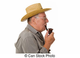 Stock Photo of Old man smoking pipe.