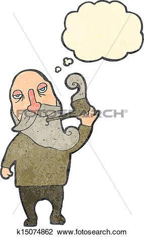 Clipart of retro cartoon old man smoking pipe k15074862.