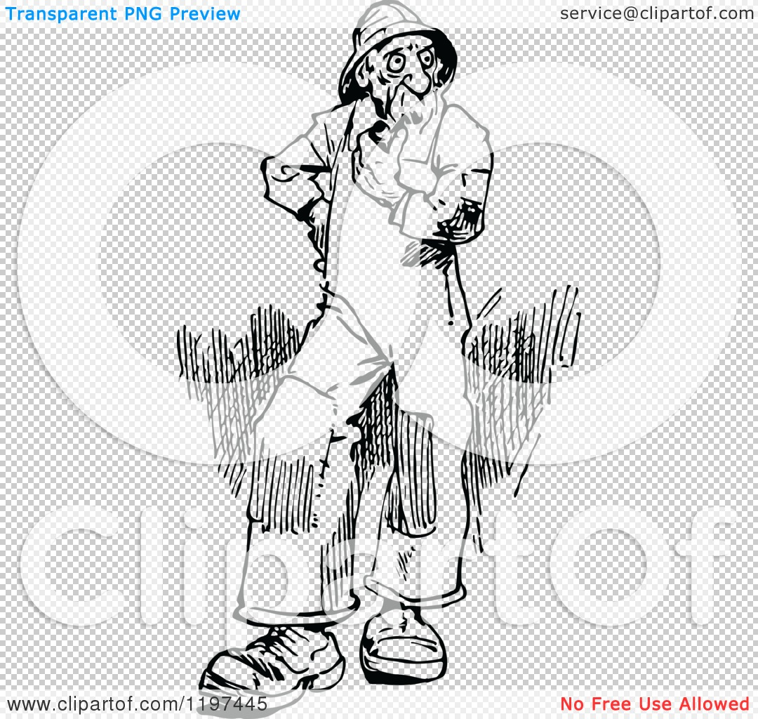 Clipart of a Vintage Black and White Old Man Smoking a Pipe.