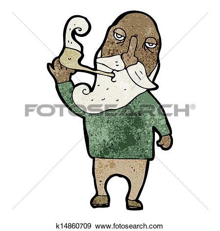 Clip Art of cartoon old man smoking pipe k14860709.