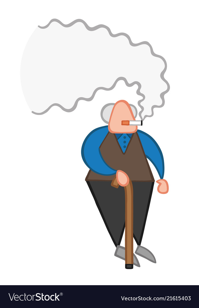 Cartoon old man standing with wooden walking.
