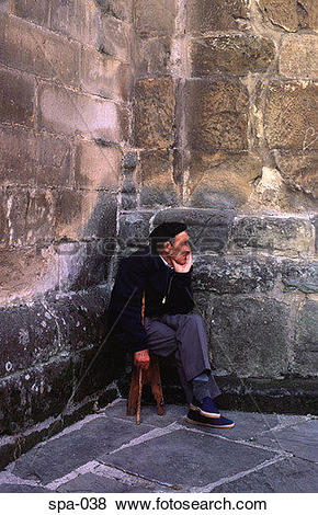 Pictures of Old Man Sitting in a Corner Spain spa.