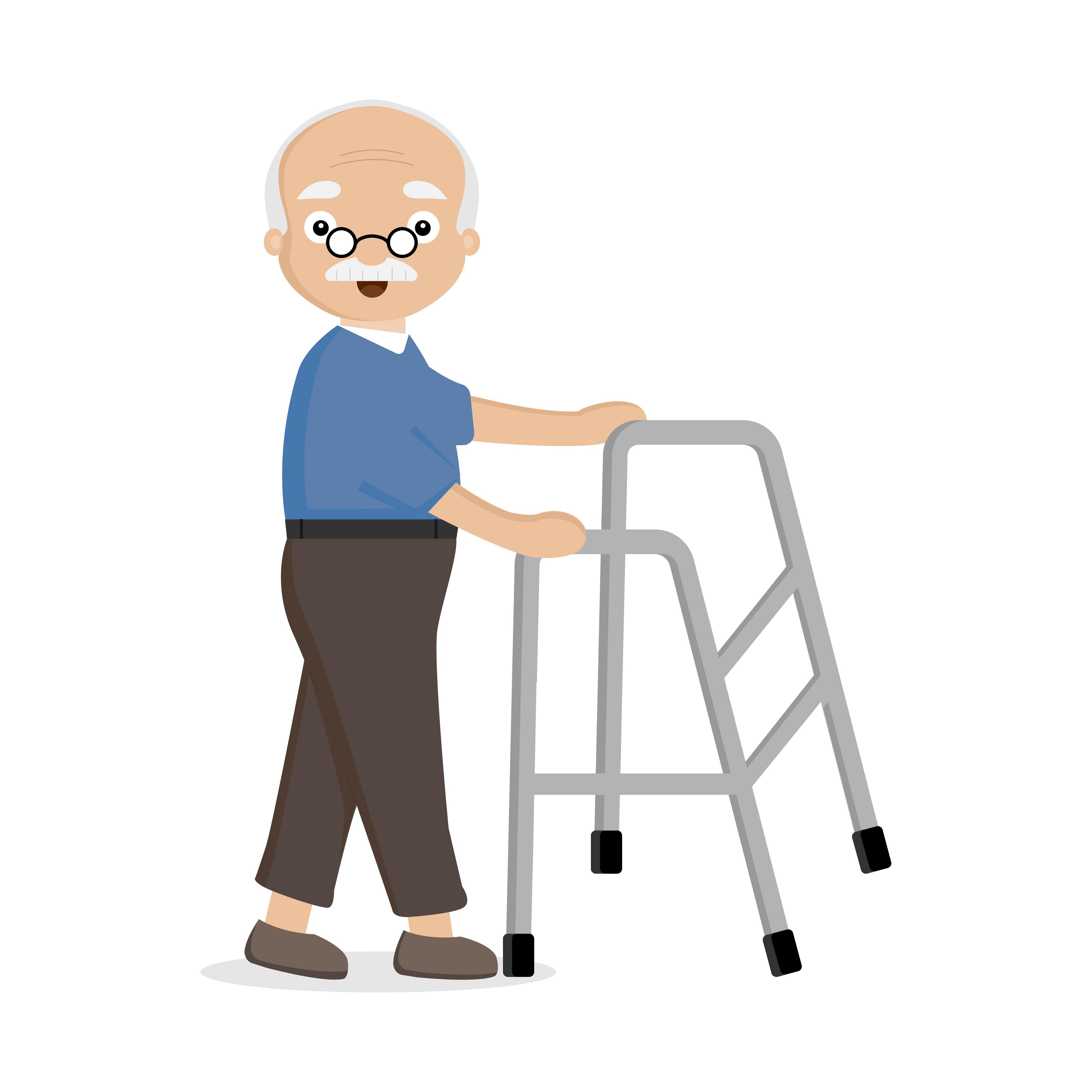 Old man using helper walker..